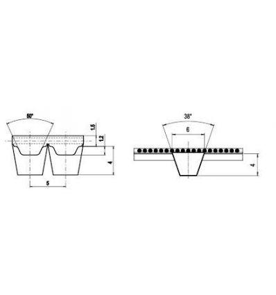 50 ATK5 K6 Lineár ozubený remeň s otv.koncom