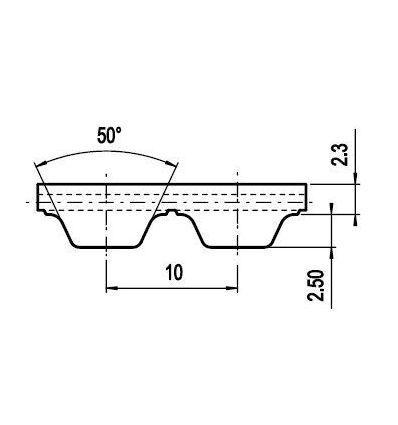 150 ATL10 Lineár ozubený remeň s otv.koncom