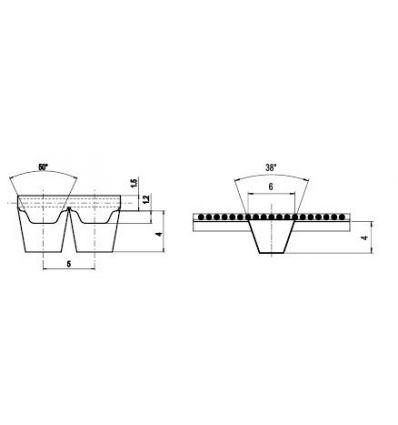 100 ATK5 K6 Lineár ozubený remeň s otv.koncom