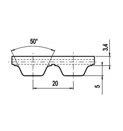 100 ATL20 Lineár ozubený remeň s otv.koncom