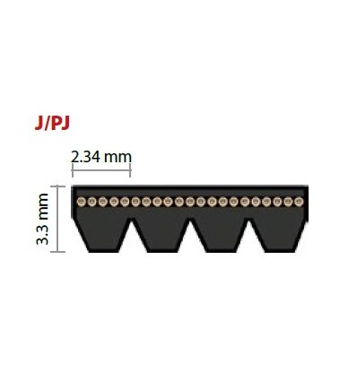 PJ457 drážkový remeň 180J